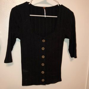 Free People black button up top. Size small.
